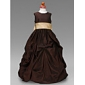 Ball Gown Floor-length Flower Girl Dress - Taffeta Sleeveless