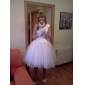 Princess Petite / Plus Sizes Wedding Dress - Ivory Knee-length Bateau Satin / Tulle