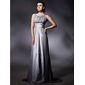 Formal Evening/Military Ball Dress - Silver Plus Sizes Sheath/Column Jewel Sweep/Brush Train Chiffon/Stretch Satin