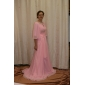 Fiesta formal/Baile Militar/Fiesta de baile Vestido - Rosa Perla Corte A/Corte Princesa Barrer / cepillo tren/Cola Watteau - Escote Joya