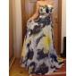 A-line Strapless Floor-length Chiffon Evening/Prom Dress