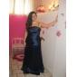 Floor-length Stretch Satin Bridesmaid Dress - Brown Plus Sizes A-line/Princess Strapless