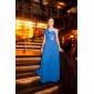 Robe - Bleu royal Soirée formelle/Bal de finissants/Bal militaire A-line/Princesse Épaule asymétrique Longueur ras du solMousseline