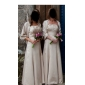 Bridesmaid Dress Floor Length Satin A Line Strapless Empire Dress