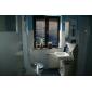 Décoration artistique/Rétro Set de centre Cascade with  Valve en céramique Deux poignées un trou for  Chrome , Robinet lavabo