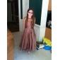 Knee-length Organza/Taffeta Junior Bridesmaid Dress - Chocolate A-line/Princess Jewel