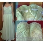 Prom / Formal Evening Dress - Plus Size / Petite A-line Strapless / Sweetheart Sweep/Brush Train Chiffon