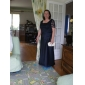 Sheath/Column Plus Sizes Mother of the Bride Dress - Dark Navy Floor-length Short Sleeve Lace/Satin