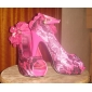 spetsar övre stilett tå häl peep med blommor bröllop / fest shoes.more färger