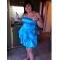 Knälång axelbandslös brudtärneklänning/bröllopsfestklänning i balstil av satin