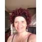 Capless hoge kwaliteit kunststof kort krullend rood haar Pruiken