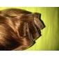 24 inch 8 stuks 100% menselijk haar zijdezacht rechte clips in hair extensions