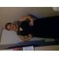 Vestido - preto Festa Formal/Baile Militar Linha-A/Princesa Jóia Sweep / Brush Train Chiffon/Lantejoulas Tamanhos Grandes