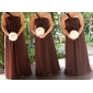 Lanting Bride® Floor-length Chiffon Bridesmaid Dress Sheath / Column One Shoulder Plus Size / Petite with Bow(s) / Pleats / Ruching