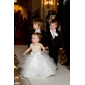 A-line Princess Floor-length Flower Girl Dress - Satin Tulle Jewel with Appliques Beading Bow(s) Sash / Ribbon