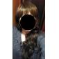 Capless långa vågigt brunt syntetisk peruk sidan bang
