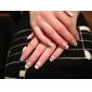 French Pink Background Style Nail Art Tips With Glue