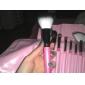 10pcs Pony/Goat hair Makeup Brushes set Professional Pink Blush/Foundation Brush Shadow/Eyelash/Brow/Lip Brush with Pink Plaid Case Cute Color