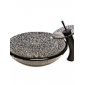 Noir Cracked style en verre trempé Évier avec robinet cascade, bague de fixation et des eaux de drainage