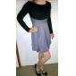 kvinders trendy slanke runde krave splicing kjole
