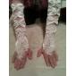 de satén hasta el codo sin dedos con guantes de correas de novia