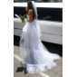 Ball Gown Plus Sizes Wedding Dress - Ivory Asymmetrical Strapless Tulle