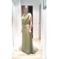 Prom/Military Ball/Formal Evening Dress - Clover Plus Sizes A-line Cowl/Spaghetti Straps Sweep/Brush Train Chiffon