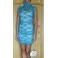 Blauw Elegant Vrouwen Floral Mesh Lace Dress (Bust :86-102cm Taille :58-79cm Hip :90-104cm lengte: 85cm)