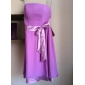 Knee-length Chiffon/Stretch Satin Bridesmaid Dress - Grape Plus Sizes A-line/Princess Strapless