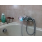 eigentijdse waterval chroom bad kraan met glazen uitloop (muurbevestiging)
