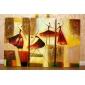 Ölgemälde gesetzt von 3 modernen abstrakten Mädchen tanzen handbemalte Leinwand fertig zum Aufhängen