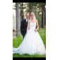 Lanting Bride Ball Gown Petite / Plus Sizes Wedding Dress-Chapel Train Sweetheart Lace / Tulle