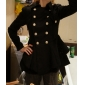 Women's Double-breasted Pleated Hem Coat