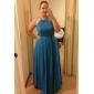 Lanting Bride® Floor-length Chiffon Bridesmaid Dress - Sheath / Column Jewel Plus Size / Petite with Sash / Ribbon / Ruching / Pleats