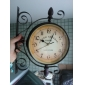 "15.75"" Retro Style Double Dial Iron Wall Clock"