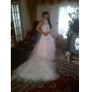 Ball Gown Plus Sizes Wedding Dress - Ivory Chapel Train High Neck Organza