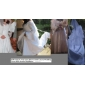 Ball Gown Plus Sizes Wedding Dress - Ivory Chapel Train V-neck Satin