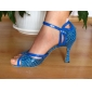 Non Customizable Women's Dance Shoes Latin/Ballroom Leatherette Stiletto Heel Blue