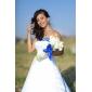Lanting noiva A-Line / Princess petite / mais tamanhos de casamento vestido de-capela strapless trem de cetim