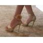 mousserande glitter övre stilettklack pumpar / sandaler med rhinestone bröllop / fest skor