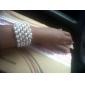 rhinestone requintado das senhoras pulseira de fita / tênis em branco pérola