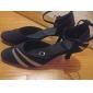 Chaussures de danse (Noir) - Non personnalisable - Talon aiguille - Velours/Paillette - Moderne