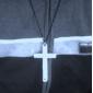 dupla cruz colar liga padrão (prata)