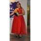 A-Lijn/Prinses - Schoolfeest/Formele Avond/Bruiloft Jurk -met Zwart Een schouder Enkellengte Tule Grote Maten