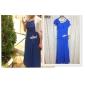 Robe - Bleu Océan Soirée formelle/Bal militaire A-line Col carré Longueur ras du sol Mousseline polyester Grandes tailles