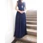 Coloană / Teacă Gât V Lungime Podea Șifon Bal Seară Formală Bal Militar Rochie cu Drapat Broșă Cristal Pliuri de TS Couture®