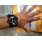 Oulm Bărbați Ceas Militar Ceas de Mână Quartz Quartz Japonez Zone Duale de Timp PU Bandă Negru Negru