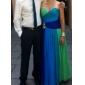 프롬/밀리터리 볼/저녁 정장파티 드레스 - 블루/그린 옴브레 시스/컬럼 바닥 길이 스트랩 없음/스위트하트 쉬폰