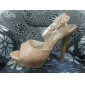 Leatherette Stiletto Heel Peep Toe / sandaler med strass fest / Evening Shoes (Fler färger)