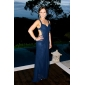 Formal Evening/Military Ball Dress - Dark Navy Plus Sizes Sheath/Column Straps Floor-length Chiffon/Satin